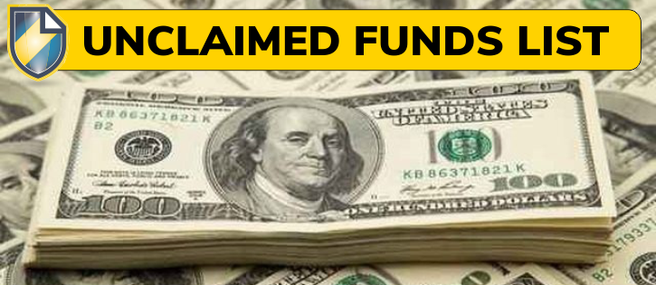 "Article header picture showing a stack of 100 dollar bills with the Clerk shield logo and the words ""Unclaimed Funds List."""