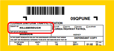 IMAGE Location of County Ticket was Issued In